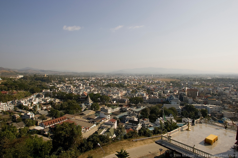 Overview of the town of Mae Sai, Thailand, on the border with Myanmar (Burma).