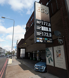 © Licensed to London News Pictures. 04/04/2012. London, UK. A service station on Holland Road, Kensington, West London, selling Diesel at 177.9p per litre and petrol at 172.9p per litre. Prices at petrol stations have increased following a recent shortage caused by panic buying. Photo credit : Ben Cawthra/LNP