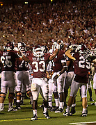 Sept 18, 2010; College Station, TX, USA; Texas A&M Aggies running back Christine Michael (33) celebrates beating FIU Golden Panthers 27-20 at Kyle Field. Mandatory Credit: Thomas Campbell-US PRESSWIRE