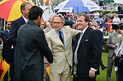 Let to right, SHEIKH JOAAN BIN HAMAD BIN KHALIFA AL-THANI of Qatar, The EARL OF MARCH and RICHARD HANNON at day 3 of the Qatar Glorious Goodwood Festival at Goodwood Racecourse, Chechester, West Sussex on 28th July 2016.