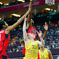 09 August 2012: Australia Kristi Harrower goes for the layup against USA Sylvia Fowles during 86-73 Team USA victory over Team Australia, during the women's basketball semi-finals, at the 02 Arena, in London, Great Britain.