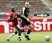 Photo: Paul Greenwood/Richard Lane Photography. <br />Burnley v Cardiff City. Coca-Cola Championship. 26/04/2008. <br />Cardiff's Darren Purse, (R) beats Andrew Cole to the ball