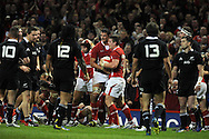 Scott Williams of Wales © celebrates after he scores his sides 1st try. Dove Men autumn international series, Wales v New Zealand at the Millennium stadium in Cardiff , South Wales on Saturday 24th November 2012. pic by Andrew Orchard, Andrew Orchard sports photography,