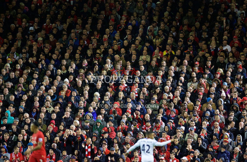 LIVERPOOL, ENGLAND - Sunday, November 8, 2015: Liverpool supporters during the Premier League match against Crystal Palace at Anfield. (Pic by David Rawcliffe/Propaganda)