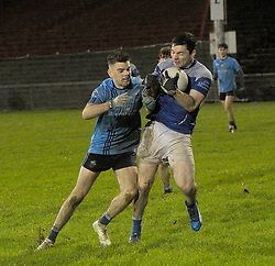 Taking the hits&hellip;. Colin Gill Claremorris and Westport&rsquo;s Oisin McLaughlin collide during the Mayo U21 Final.<br />Pic Conor McKeown