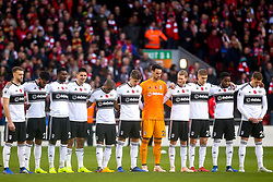 Fulham observe a minutes silence for Armistice Day - Mandatory by-line: Robbie Stephenson/JMP - 11/11/2018 - FOOTBALL - Anfield - Liverpool, England - Liverpool v Fulham - Premier League