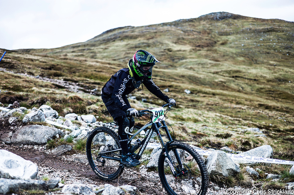 Glencoe Mountain Resort, Glencoe, Scottish Highlands, UK. 28th May 2016. Gus Meldrum competes in the Scottish Downhill Association round at Glencoe amongst some of the finest scenery in the British Isles during Bank Holiday weekend.