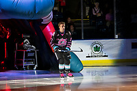 KELOWNA, BC - SEPTEMBER 21:  Carson Sass #7 of the Kelowna Rockets enters the ice for home opener against the Spokane Chiefs at Prospera Place on September 21, 2019 in Kelowna, Canada. (Photo by Marissa Baecker/Shoot the Breeze)