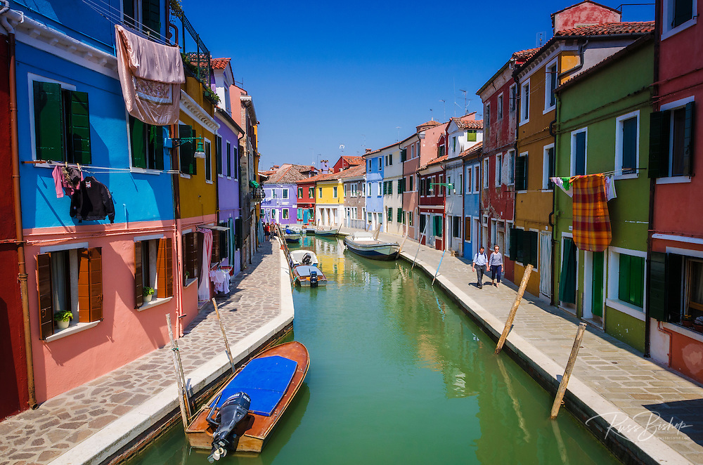 Colorful houses and canal, Burano, Veneto, Italy