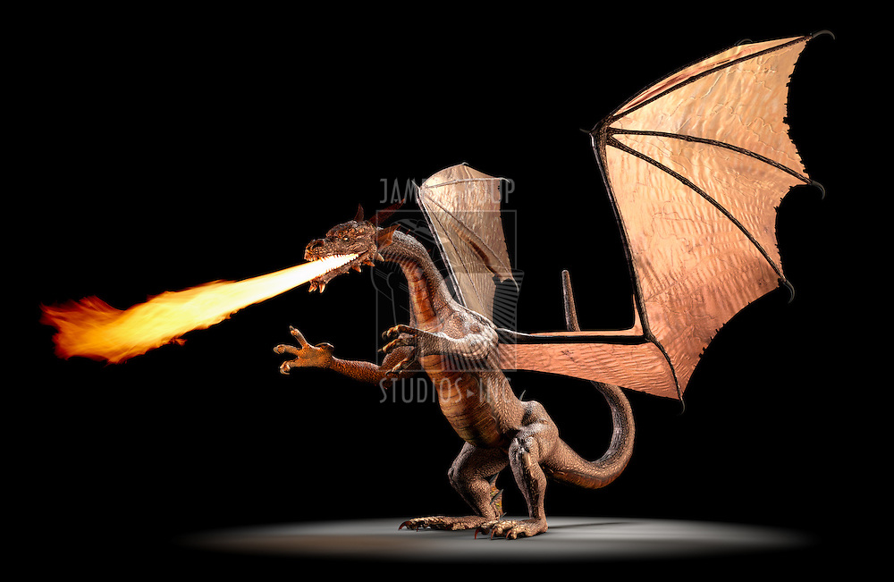 A fire breathing dragon on a black background