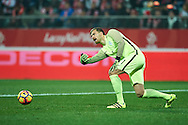 Wroclaw, Poland - 2016 November 14: Goalkeeper Vid Belec of Slovenia controls the ball during Poland v Slovenia - International Friendly Soccer Match at Municipal Stadium on November 14, 2016 in Wroclaw, Poland.<br /> <br /> Adam Nurkiewicz declares that he has no rights to the image of people at the photographs of his authorship.<br /> <br /> Picture also available in RAW (NEF) or TIFF format on special request.<br /> <br /> Any editorial, commercial or promotional use requires written permission from the author of image.<br /> <br /> Mandatory credit:<br /> Photo by © Adam Nurkiewicz / Mediasport