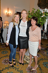 Left to right, LEO BAMFORD, the MARCHIONESS OF DOURO and ZITA WEST at a breakfast hosted by Zita West and Leo Bamford to launch a range of vitamins for babies & children held at the Royal Society of Medicine, Chandos House, 2 Queen Anne Street, London on 21st May 2015.