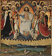 The Last Judgement, from the right section of the Altarpiece of the Transfiguration of Christ, late 15th century, by Jaume Huguet, 1412-92, in the Cathedral of St Mary, designed by Benito Dalguayre in Catalan Gothic style and begun 1347 on the site of a Romanesque cathedral, consecrated 1447 and completed in 1757, Tortosa, Catalonia, Spain. The altarpiece was originally in the Transfiguration Chapel but is now in the Cathedral Museum. The cathedral has 3 naves with chapels between the buttresses and an ambulatory with radial chapels. Picture by Manuel Cohen
