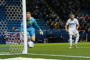 Leeds United defender Barry Douglas (3) heads the ball against the post during the EFL Sky Bet Championship match between Sheffield Wednesday and Leeds United at Hillsborough, Sheffield, England on 28 September 2018.