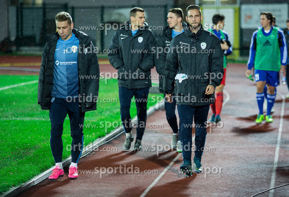 Nejc Skubic of Slovenia and Tim Matavz of Slovenia prior to the football match between National teams of San Marino and Slovenia in Group E of EURO 2016 Qualifications, on October 12, 2015 in Stadio Olimpico Serravalle, Republic of San Marino. Photo by Vid Ponikvar / Sportida