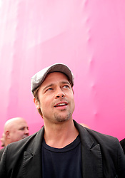 Dec 03 2007. New Orleans, Louisiana. Lower 9th Ward.<br /> Brad Pitt revisits the Lower 9th ward, devastated by Hurricane Katrina to present 'Make it Right' where architects' designs are unveiled to the public. <br /> Photo credit; Charlie Varley/varleypix.com