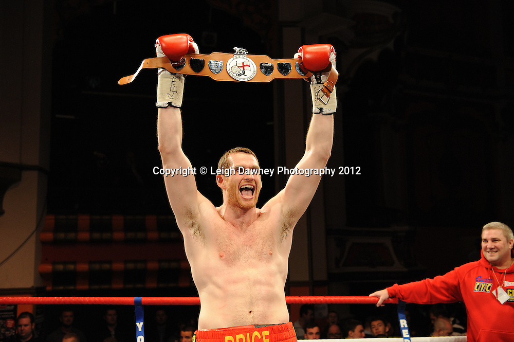 David Price victorious after  defeating John McDermott in 12x3 min contest to claim The British Heavyweight Title Eliminator at Olympia, Liverpool on the 21st January 2012. Referee Howard John Foster. Frank Maloney Promotions on Skysports HD1. © Leigh Dawney Photography 2012.