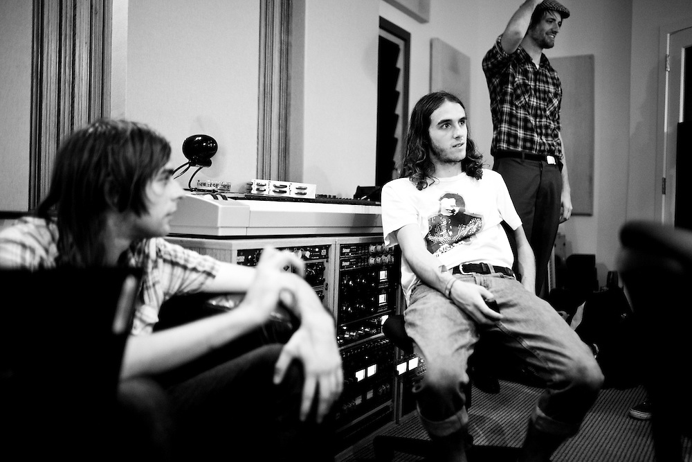 NEW YORK, NY - AUGUST 10: North Carolina based band Israel Darling record a track at Engine Room Studios on August 10, 2009 in New York, New York. (PHOTO CREDIT: Eric M. Townsend)