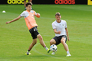 Julian Weigl and Sebastian Schweinsteiger of Germany during training at Stadio Communale, Ascona<br /> Picture by EXPA Pictures/Focus Images Ltd 07814482222<br /> 31/05/2016<br /> ***UK &amp; IRELAND ONLY***<br /> EXPA-EIB-160531-0028.jpg