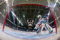 KELOWNA, CANADA - APRIL 14: Michael Herringer #30 of the Kelowna Rockets clears snow from the crease against the Portland Winterhawks on April 14, 2017 at Prospera Place in Kelowna, British Columbia, Canada.  (Photo by Marissa Baecker/Shoot the Breeze)  *** Local Caption ***