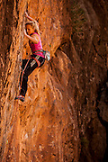 "Sasha DiGiulian climbing ""Atonement"" rated14b in the Virgin River Gorge, Arizona."