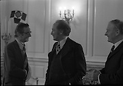 Canadian Prime Minister, Pierre Trudeau arrives in Dublin    (J17).14.03.1975.03.14.1975.3rd April 1975..Pierre Trudeau arrived today for a brief visit to Ireland. He was greeted by the Taoiseach Mr. Liam Cosgrave on his arrival at Dublin Airport..Image of Canadian Premier Pierre Trudeau as he is introduced to the  Minister of Finance, Richie Ryan, by An Taoiseach Liam Cosgrave.