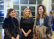 Garden City, New York, USA. March 9, 2019.  L-R, JOANNE ADAMS, Hempstead Town Supervisor LAURA GILLEN, and KELLEY HOCHHEISER, all from Garden City, chat during Unveiling Ceremony of mural by painter Michael White, of close-up of Nunley's Carousel lead horse. Event was held at historic Nunley's Carousel in its Pavilion on Museum Row on Long Island. After speeches by elected officials and members of Baldwin Civic Association and Baldwin Historical Society, and others, people enjoy free carousel rides and food.