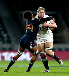 Poppy Cleall of England is tackled by Julie Annery of France Women - Mandatory by-line: Robbie Stephenson/JMP - 04/02/2017 - RUGBY - Twickenham - London, England - England v France - Women's Six Nations