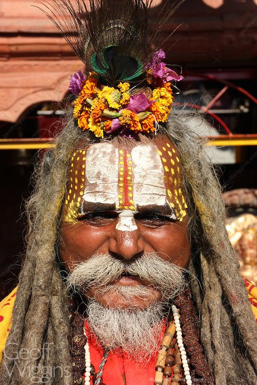 Bearded Sadu holy man on pilgrimage in Kathmandu Nepal