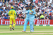 Jonny Bairstow of England and Jason Roy of England between overs during the ICC Cricket World Cup 2019 semi final match between Australia and England at Edgbaston, Birmingham, United Kingdom on 11 July 2019.