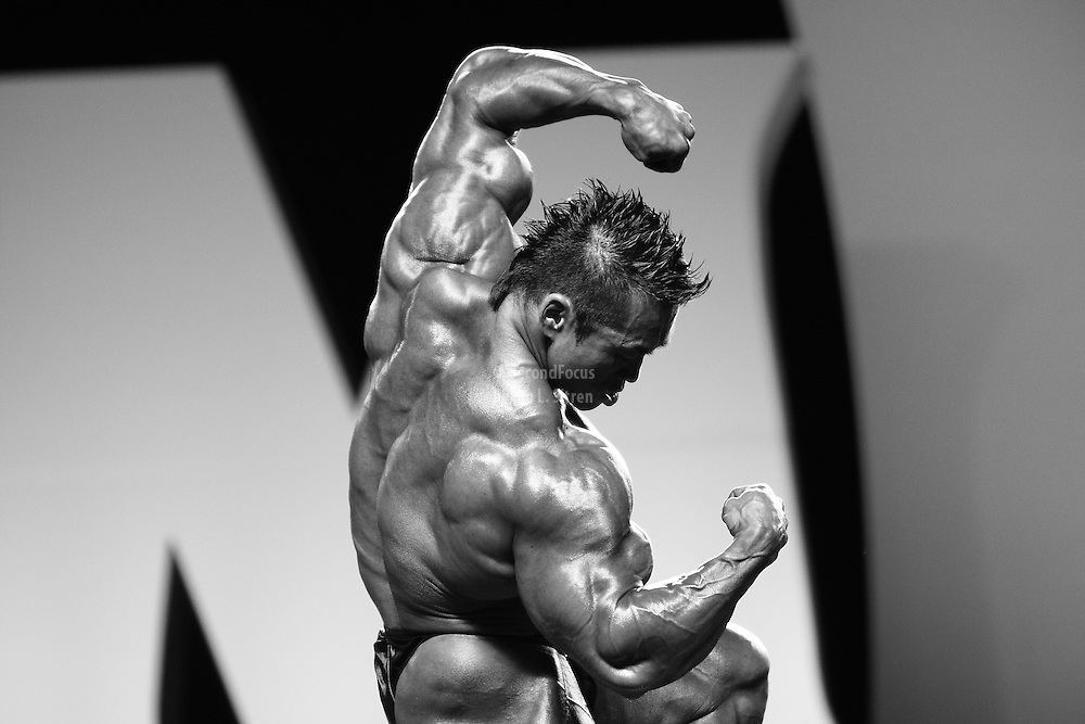 Hidetada Yamagishi competing at the 2010 Mr. Olympia finals in Las Vegas.