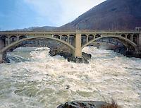 Spring freshet, natural channel - Vilas Bridge, Bellows Falls, VT