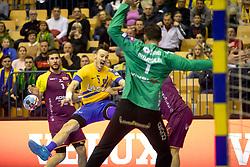 Jaka Malus of RK Celje Pivovarna Lasko during handball match between RK Celje Pivovarna Lasko (SLO) and HBC Nantes (FRA) in Group phase of VELUX EHF Men's Champions League 2018/19, December 2, 2018 in Arena Zlatorog, Celje, Slovenia. Photo by Urban Urbanc / Sportida