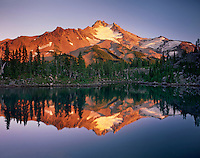 Sunset on Mount Jefferson from Bays Lake in Jefferson Park, Mount Jefferson Wilderness Oregon