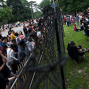 June 4, 2014 - New York, NY : <br /> Concertgoers stake out spots both inside (at right) and outside (at left) the Prospect Park Bandshell fence as they attend Janelle Monáe's Celebrate Brooklyn! concert on Wednesday night. <br /> CREDIT: Karsten Moran for The New York Times