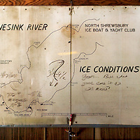 (PSTORE) Red Bank 1/28/2004   The ice condition board inside the club which states where the good and bad sections of ice are.  This reference board is check by all those who go out on the ice.   Michael J. Treola Staff Photographer...MJT