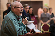 Ed Blume delivers his comment during the public listening session at the East Madison Community Center on the subject of F-35 fighter jets at Truax Field in Madison, Wisconsin, Wednesday, Feb. 28, 2018.