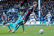 Leeds United forward Patrick Bamford (9) wins a penalty kick during the EFL Sky Bet Championship match between Queens Park Rangers and Leeds United at the Kiyan Prince Foundation Stadium, London, England on 18 January 2020.
