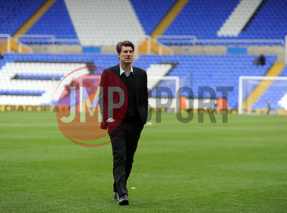 Swansea City Manager, Michael Laudrup walks the pitch prior to kick off. - Photo mandatory by-line: Alex James/JMP - Tel: Mobile: 07966 386802 25/01/2014 - SPORT - FOOTBALL - St Andrew's - Birmingham - Birmingham City v Swansea City - FA Cup - Forth Round