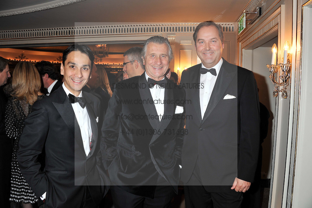Left to right, FRANCOIS LE TROQUER MD Cartier UK, ARNAUD BAMBERGER Executive Chairman Cartier UK and the HON.HARRY HERBERT at the 21st Cartier Racing Awards held at The Dorchester, Park Lane, London on 15th November 2011.