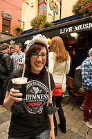 Sharon Collins from Galway City at the Quays bar for Arthur's day Galway 2011 celebrating Guinness . Photo:Andrew Downes.