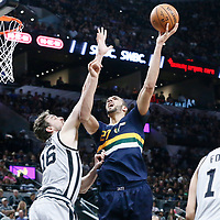 02 April 2017: Utah Jazz center Rudy Gobert (27) goes for the baby hook over San Antonio Spurs center Pau Gasol (16) during the San Antonio Spurs 109-103 victory over the Utah Jazz, at the AT&T Center, San Antonio, Texas, USA.