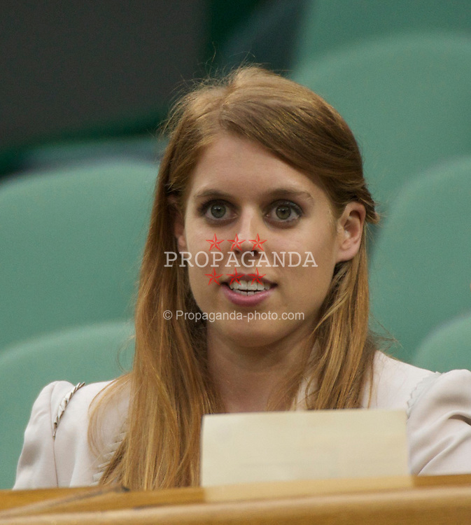 LONDON, ENGLAND - Tuesday, June 28, 2011: Beatrice Elizabeth Mary Windsor, Princess Beatrice of York, watches from the Royal Box on Centre Court during the Ladies' Singles Quarter-Final on day eight of the Wimbledon Lawn Tennis Championships at the All England Lawn Tennis and Croquet Club. (Pic by David Rawcliffe/Propaganda)