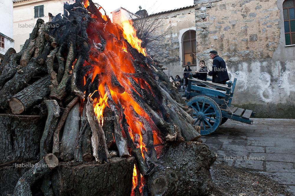 Sardegna, Italy. Sardegna, Italy. Orotelli (NU). Fuoco per la festa di Sant'Antonio abate