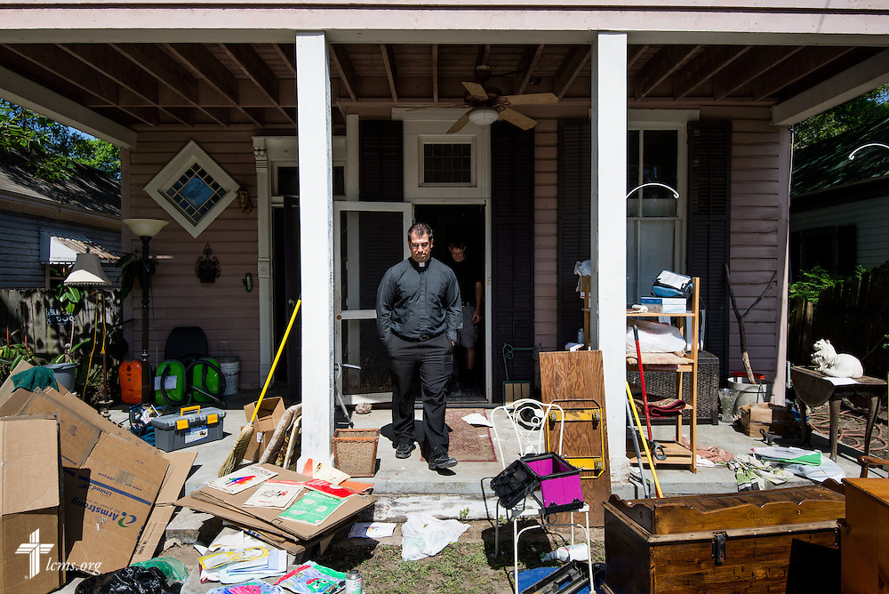 The Rev. Ross Johnson, director of LCMS Disaster Response, leaves the flood-damaged home of Aaron Schneier and Pueschel Studstill Schneier on Saturday, May 3, 2014, in Pensacola, Fla. LCMS Communications/Erik M. Lunsford