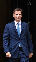 © Licensed to London News Pictures. 11/06/2019. London, UK.Foreign Secretary Jeremy Hunt, who is running to be Leader of the Conservative Party and the next Prime Minister, leaves 10 Downing Street after the Cabinet meeting. Photo credit: Rob Pinney/LNP