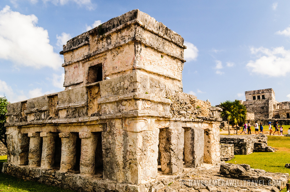 Temple of the Frescoes structure at the Maya civilization ruins of Tulum on Mexico's Mayan Riviera coast.