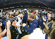 Jan 20, 2019; New Orleans, LA, USA; Los Angeles Rams kicker Greg Zuerlein (4) celebrates with head coach Sean McVay after  who kicked a 57-yard field goal in overtime in the NFC Championship at Mercedes-Benz Superdome against the New Orleans Saints. The Rams beat the Saints in overtime 26-23 and head to Super Bowl 53 in Atlanta. (Steve Jacobson/Image of Sport)
