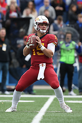 November 2, 2018 - Lawrence, KS, U.S. - LAWRENCE, KS - NOVEMBER 03: Iowa State Cyclones quarterback Brock Purdy (15) drops back to pass during the first quarter of a Big 12 football game between the Iowa State Cyclones and Kansas Jayhawks on November 3, 2018 at Memorial Stadium in Lawrence, KS.  (Photo by Scott Winters/Icon Sportswire) (Credit Image: © Scott Winters/Icon SMI via ZUMA Press)
