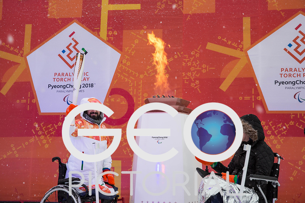 Flame lighting ceremony dress rehearsal for the Pyeonchang Winter Paralympics 2018 at Stoke Mandeville Stadium hosted by Wheelpower on 2nd March 2018